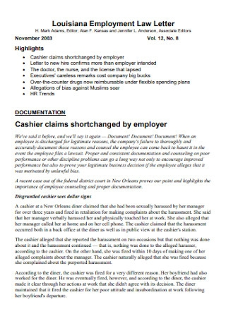 Employment Claim Law Letter