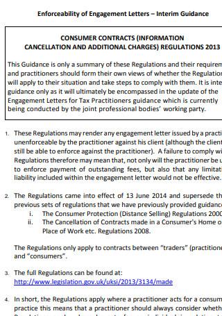 Enforceability of Engagement Letter