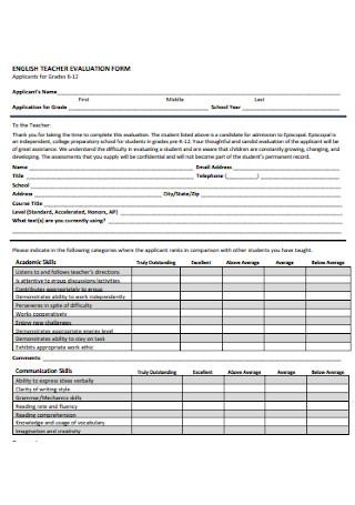 English Teacher Evaluation Form