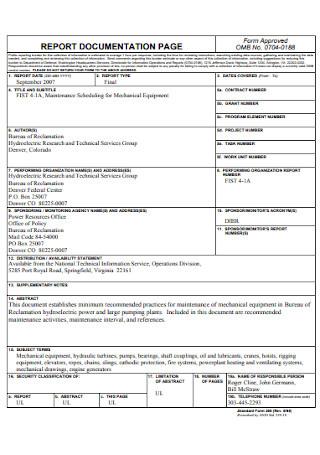 Equipment Maintenance Report Form