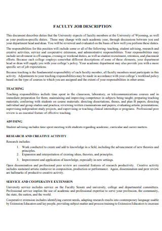 Faculty Job Discription