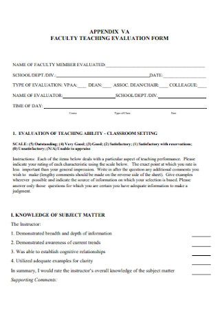 Faculty Teaching Evaluation Form
