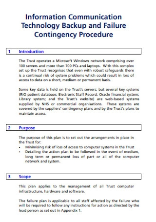 Failure Contingency Plan