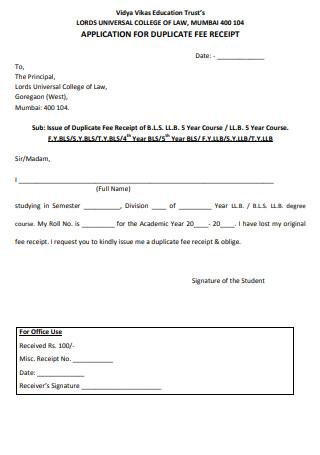 Fee Receipt Form