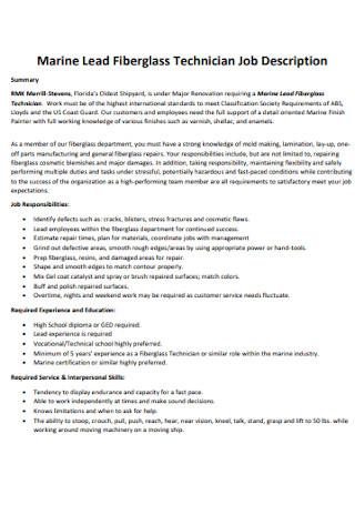 Fiberglass Technician Job Description