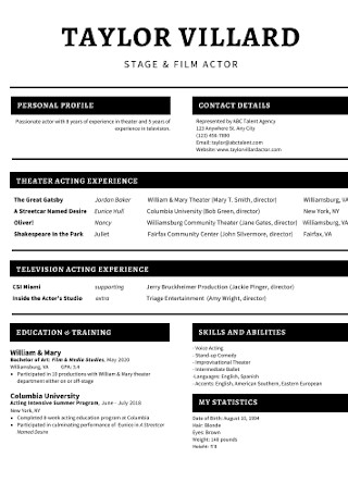 Film Actor Acting Resume