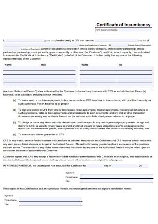 Financial Certificate of Incumbency
