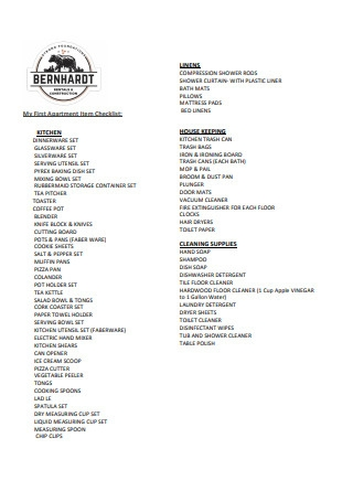 First Apartment Item Checklist