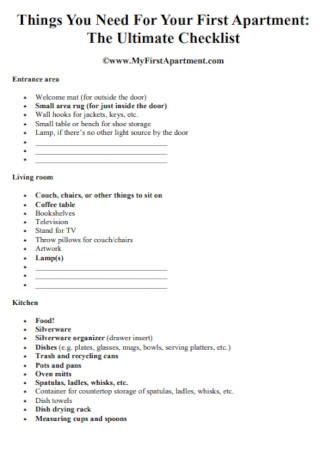 First Apartment Ultimate Checklist