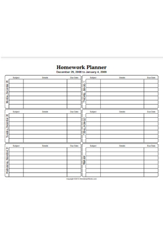 Five Day Homework Planner Sample