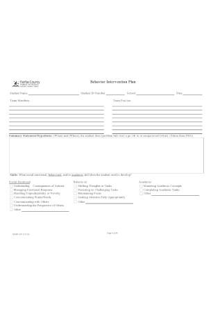 Flat Behavior Intervention Plan