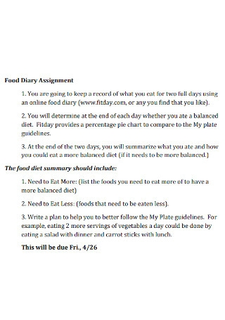 Food Diary Assignment Template