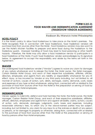 Food Waiver and Indemnification Agreement