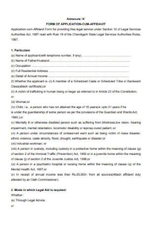 Form for Application Cum Affidavit
