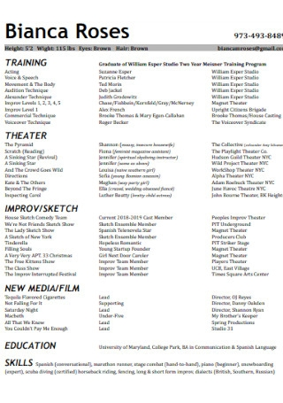 Formal Acting Resume