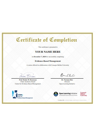 Formal Certificate of Completion