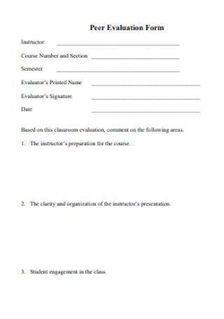 Formal Peer Evaluation Form