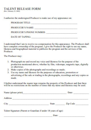Formal Talent Release Form