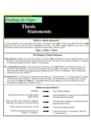 Formal Thesis Statements