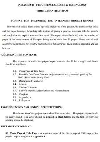 Format for Project Report