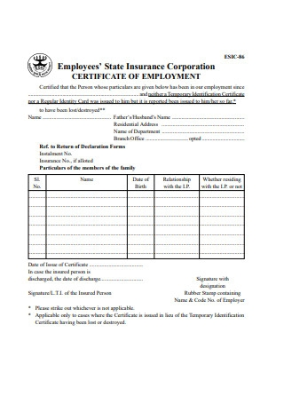 Format of Certificate of Employment