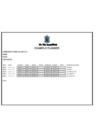Format of Homework Planner