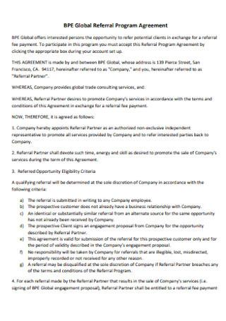Global Referral Program Agreement