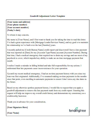 Goodwill Adjustment Letter Template