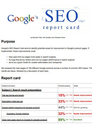 Googles SEO Report Card