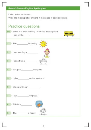 Grade 3 Spelling Test
