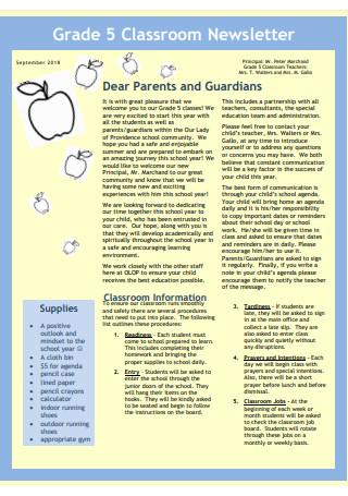 Grade 5 Classroom Newsletter