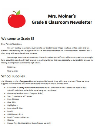 Grade 8 Classroom Newsletter