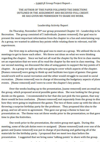 Group Project Report
