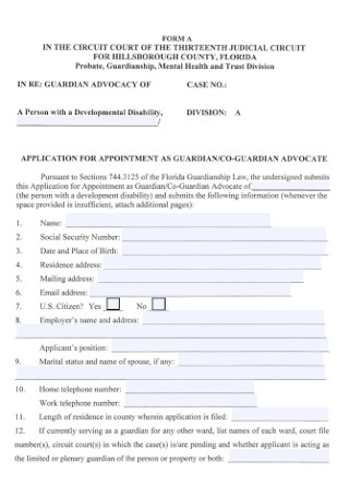 Guardian Advocacy Forms