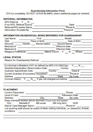 Guardianship Information Form