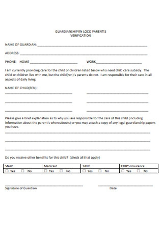 Guardianship Verifivation Form