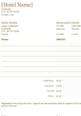Guest Accommodation Receipt