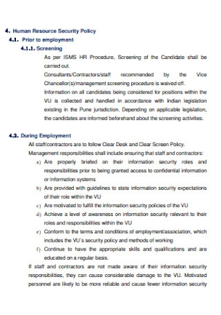 HR Information Security Policy
