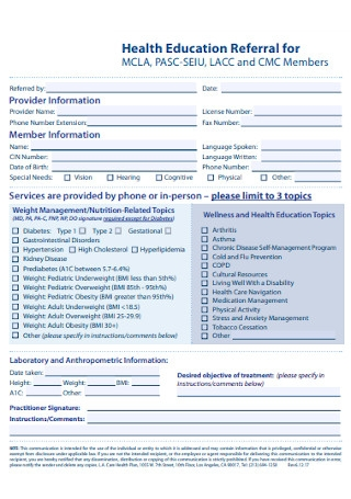 Health Education Referral Form