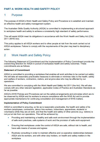 Health and Safety Policy and Procedure