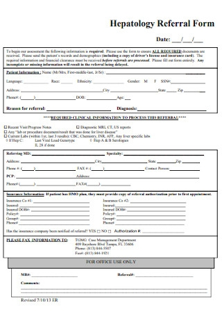 Hepatology Referral Form