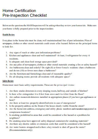Home Certification Pre Inspection Checklist