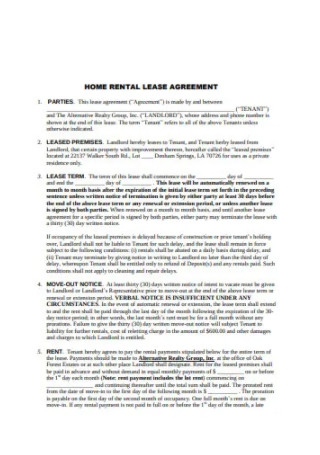 Home Rental Lease Agreement