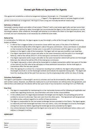 HomeLight Referral Agreement for Agents