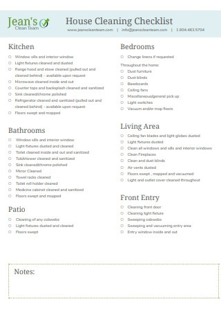House Cleaning Checklist Format