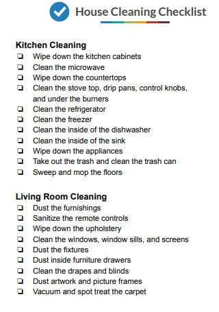 House Cleaning Checklist Sample