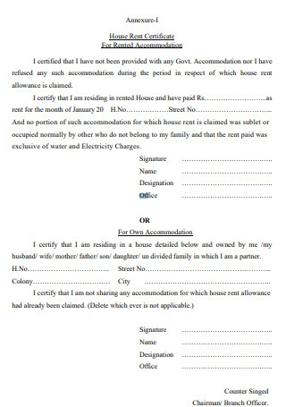 House Rent Certificate For Rented Accommodation