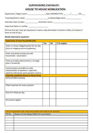 House Supervisor Checklist