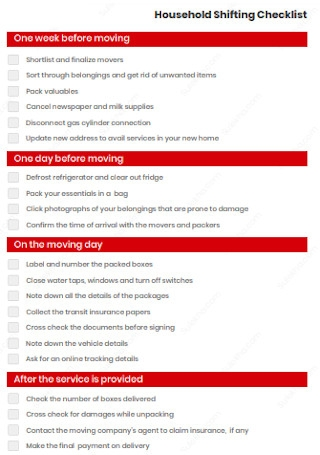 Household Shifting Checklist
