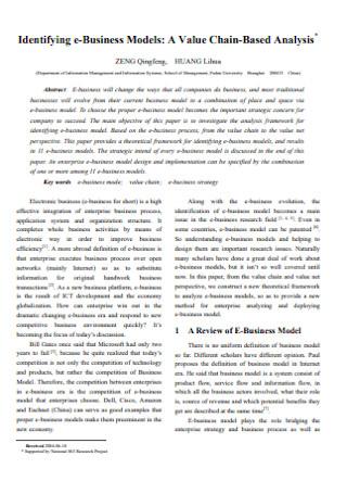 Identifying e Business Models